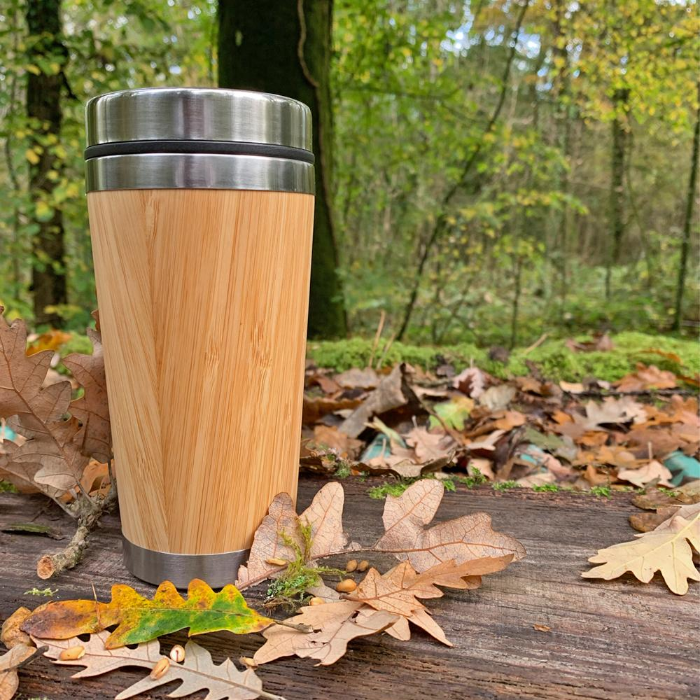 reusable, organic bamboo coffee cup from goBambu